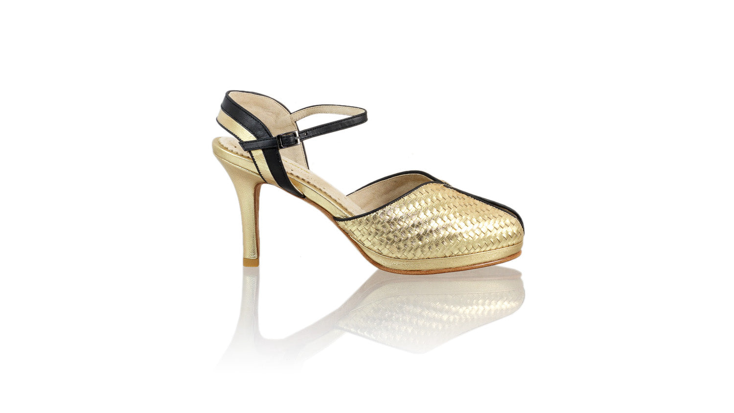 Leather-shoes-Agnes Woven 90mm SH-01 PF - Gold & Black-pumps highheel-NILUH DJELANTIK-NILUH DJELANTIK