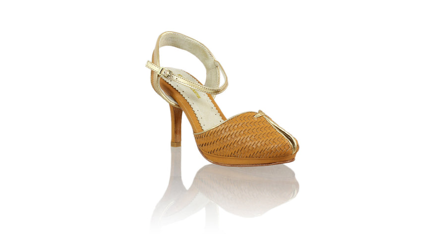 Leather-shoes-Agnes Woven 90mm SH-01 PF - Camel & Gold-pumps highheel-NILUH DJELANTIK-NILUH DJELANTIK