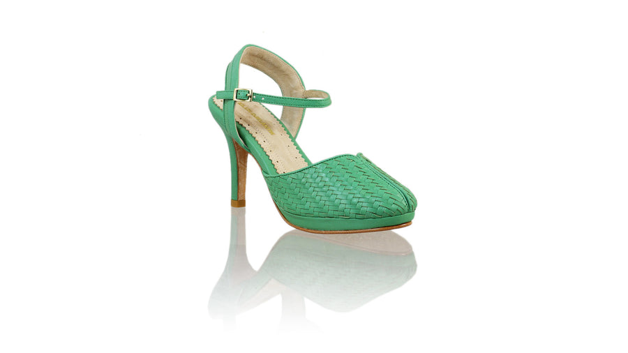 Leather-shoes-Agnes Woven 90mm SH-01 PF - Green-pumps highheel-NILUH DJELANTIK-NILUH DJELANTIK