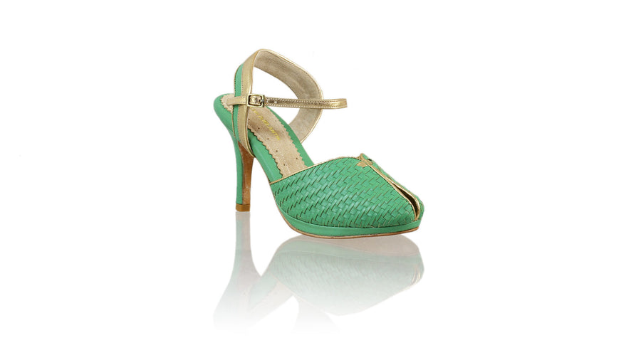 Leather-shoes-Agnes Woven 90mm SH-01 PF - Green & Gold-pumps highheel-NILUH DJELANTIK-NILUH DJELANTIK