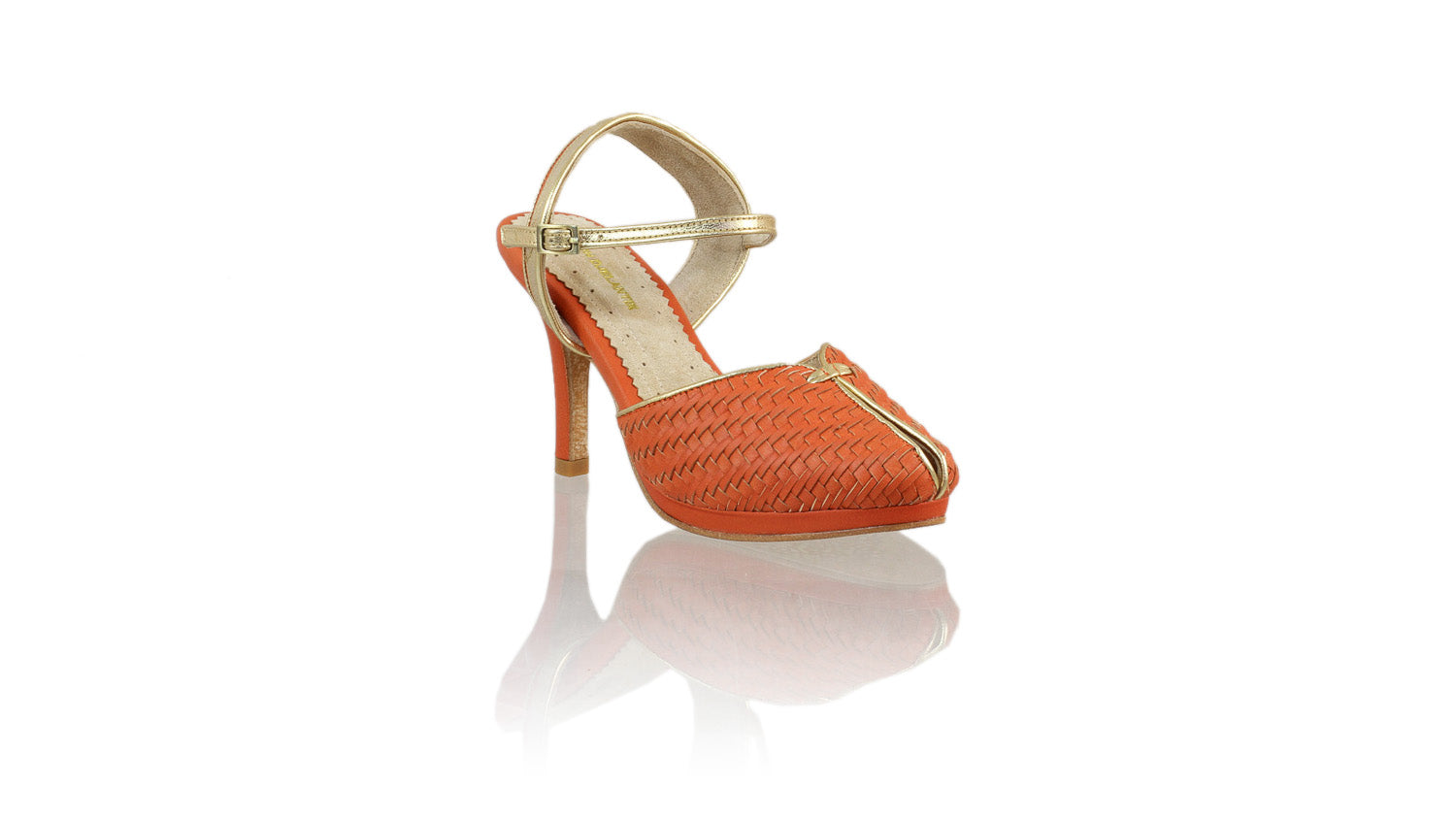 Leather-shoes-Agnes Woven 90mm SH-01 PF - Orange & Gold-pumps highheel-NILUH DJELANTIK-NILUH DJELANTIK