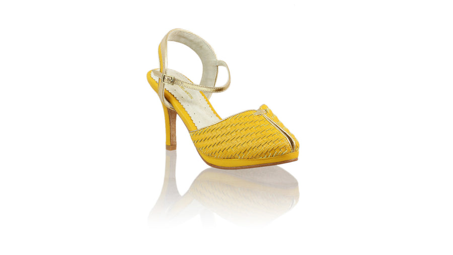 Leather-shoes-Agnes Woven 90mm SH-01 PF - Yellow & Gold-pumps highheel-NILUH DJELANTIK-NILUH DJELANTIK