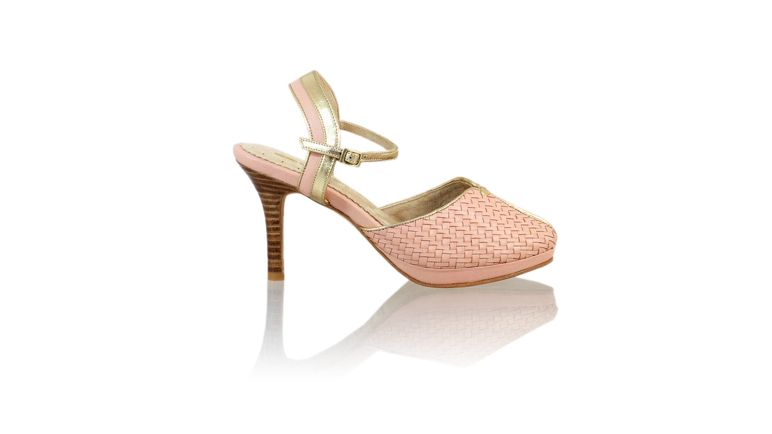 Leather-shoes-Agnes Woven 90mm SH PF - Soft Pink & Gold-pumps highheel-NILUH DJELANTIK-NILUH DJELANTIK