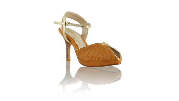 Leather-shoes-Agnes Woven 90MM SH PF - Camel & Gold-pumps highheel-NILUH DJELANTIK-NILUH DJELANTIK