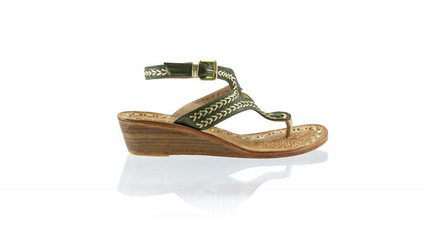 Leather-shoes-Agra 35mm Wedge - Olive & Gold-sandals wedges-NILUH DJELANTIK-NILUH DJELANTIK