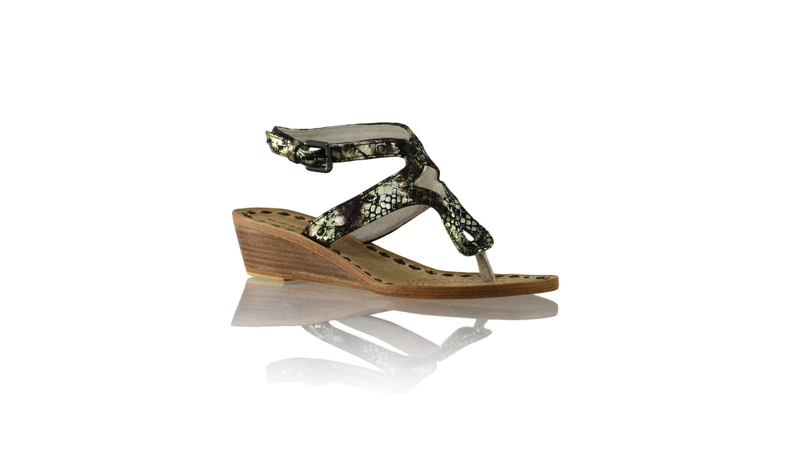 Leather-shoes-Agra 35mm - Wedges Bronze Green Python-sandals wedges-NILUH DJELANTIK-NILUH DJELANTIK