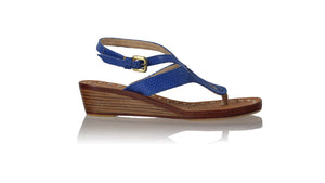 leather shoes Agra 35mm Wedges - Blue Snake Print, sandals flat , NILUH DJELANTIK - 1
