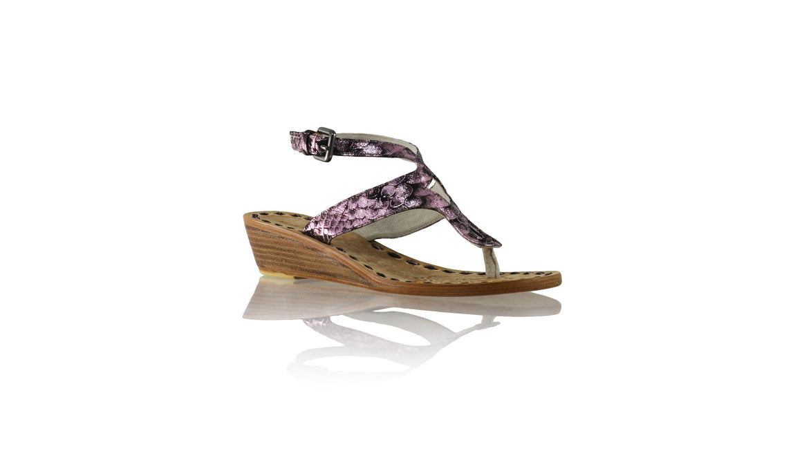 Leather-shoes-Agra 35mm Wedges - Purple Python Print-sandals wedges-NILUH DJELANTIK-NILUH DJELANTIK