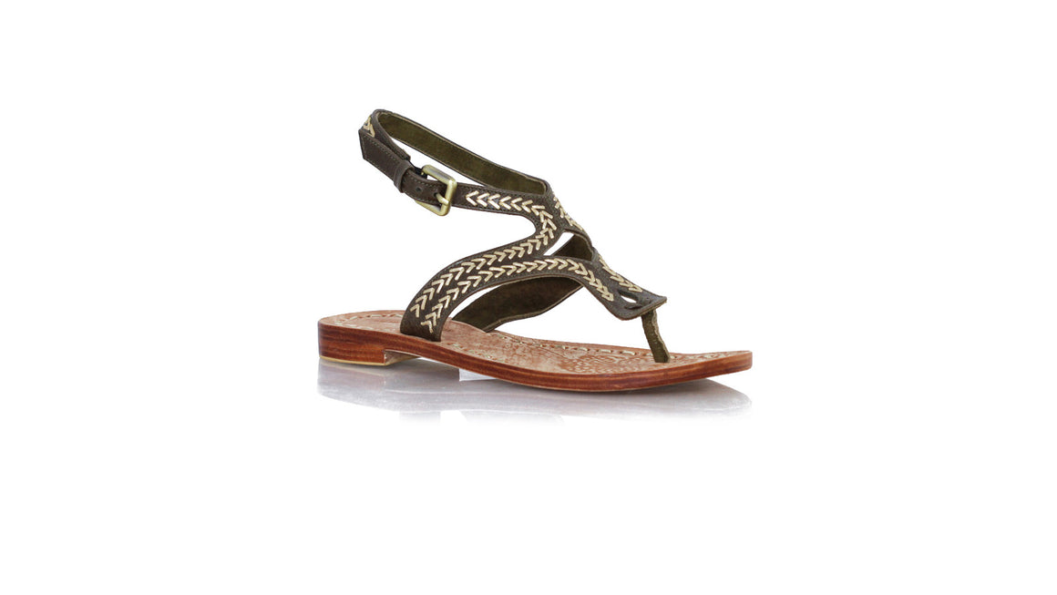 leather shoes Agra Sulam 20mm Flats Dark Olive - Gold, sandals flat , NILUH DJELANTIK - 1