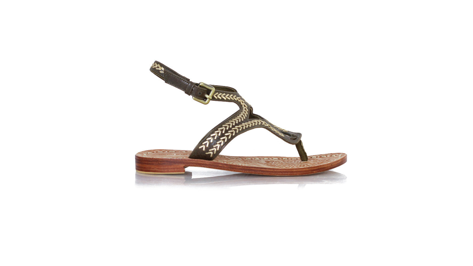 eebad5a179d2 Leather-shoes-Agra Sulam 20mm Flats Dark Olive - Gold-sandals flat-
