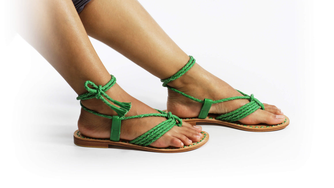 Leather-shoes-Amara 20mm Flats - Green-sandals flat-NILUH DJELANTIK-NILUH DJELANTIK