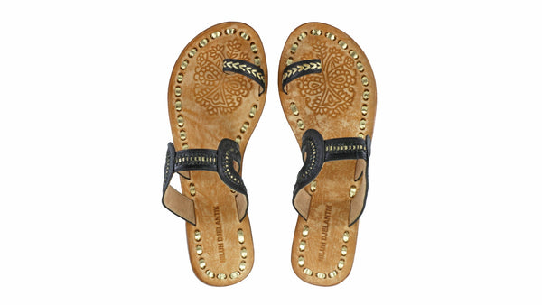 Leather-shoes-Andy 20mm Flat - Black & Gold-sandals flat-NILUH DJELANTIK-NILUH DJELANTIK