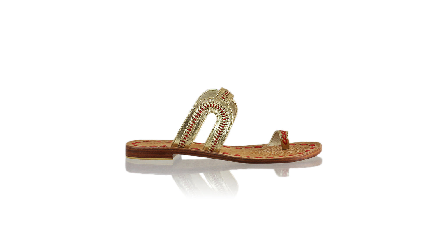 Leather-shoes-Andy 20mm Flat - Gold & Red-sandals flat-NILUH DJELANTIK-NILUH DJELANTIK