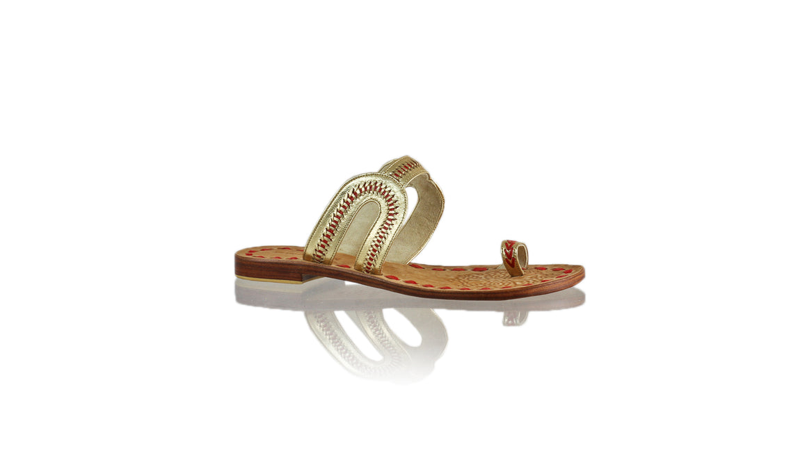 Leather-shoes-Andy Flats 20mm - Gold & Red-sandals flat-NILUH DJELANTIK-NILUH DJELANTIK