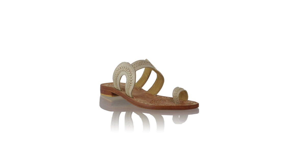 leather shoes Andy without Strap 20mm Flats - Ivory Vintage, sandals flat , NILUH DJELANTIK - 1