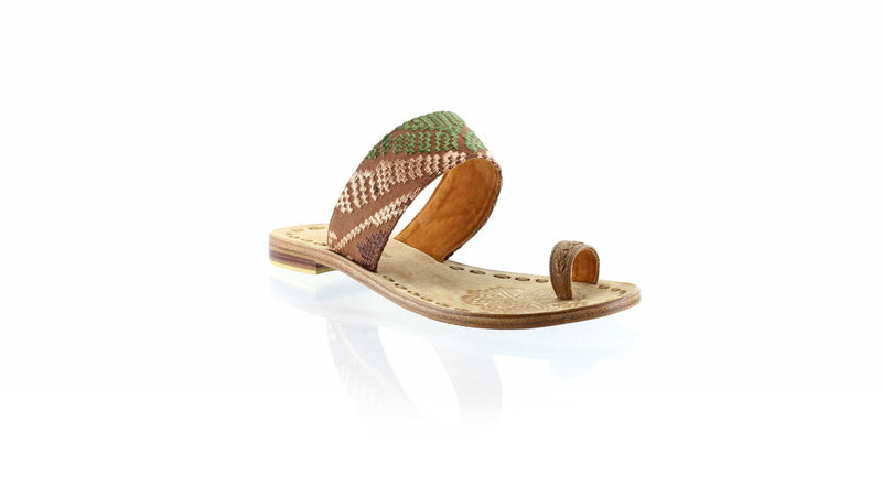 Leather-shoes-Arini 20mm Flat - Brown Leather & Brown Songket-sandals flat-NILUH DJELANTIK-NILUH DJELANTIK