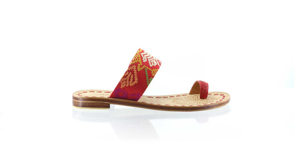 Leather-shoes-Arini 20mm Flat - Red Leather & Red Songket-sandals flat-NILUH DJELANTIK-NILUH DJELANTIK
