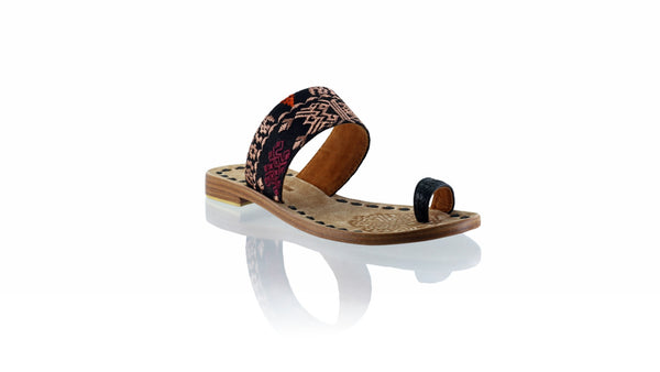 Leather-shoes-Arini 20mm Flat - Black Leather & Black Songket-sandals flat-NILUH DJELANTIK-NILUH DJELANTIK