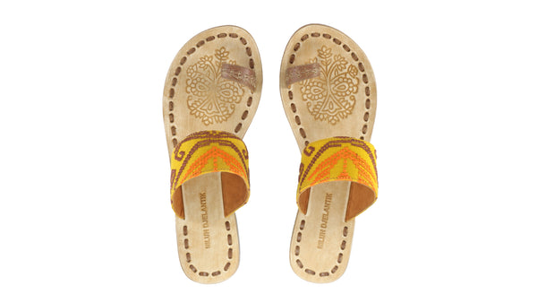 Leather-shoes-Arini 20mm Flat - Brown Leather & Mustard Songket-sandals flat-NILUH DJELANTIK-NILUH DJELANTIK