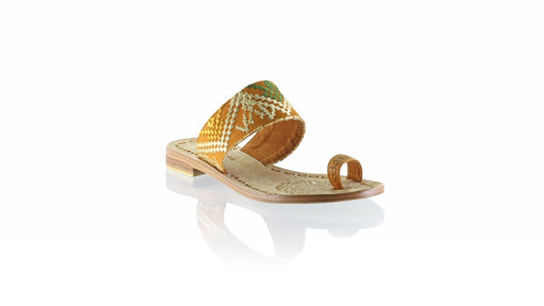 Leather-shoes-Arini 20mm Flat - Camel & Light Brown Songket-sandals flat-NILUH DJELANTIK-NILUH DJELANTIK