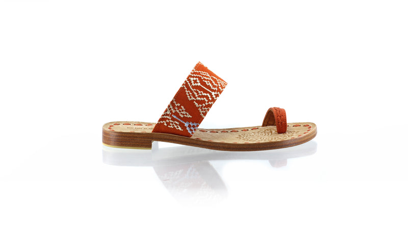 Leather-shoes-Arini 20mm Flat - Orange Leather & Orange Songket-sandals flat-NILUH DJELANTIK-NILUH DJELANTIK