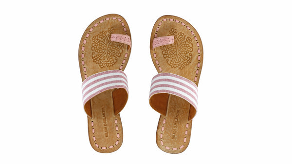 Leather-shoes-Arini 20mm Flat - Pink & Pink and White Stripes Linen-sandals flat-NILUH DJELANTIK-NILUH DJELANTIK