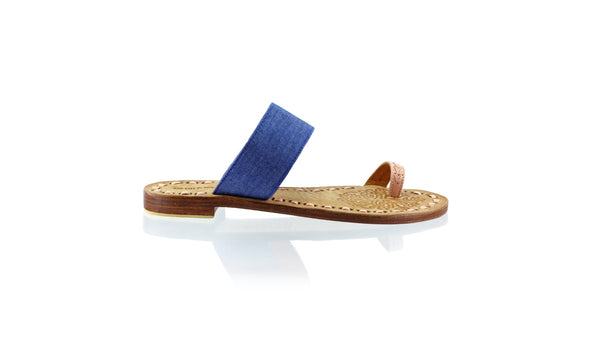 Leather-shoes-Arini 20mm Flat - Soft Pink & Blue Denim Linen-sandals flat-NILUH DJELANTIK-NILUH DJELANTIK
