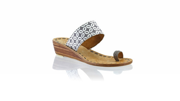 Leather-shoes-Arini 35mm Wedge - Grey Batik Motif Kawung S-sandals wedges-NILUH DJELANTIK-NILUH DJELANTIK