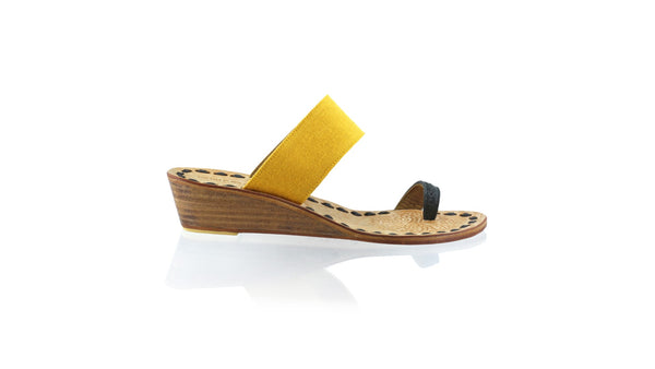 Leather-shoes-Arini 35mm Wedge - Black & Yellow Linen-sandals wedges-NILUH DJELANTIK-NILUH DJELANTIK