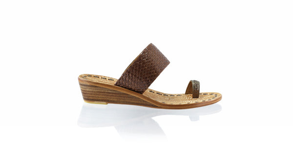 Leather-shoes-Arini 35mm Wedge - Bronze & Brown Ribbon-sandals wedges-NILUH DJELANTIK-NILUH DJELANTIK