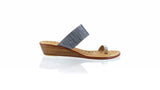 Leather-shoes-Arini 35mm Wedge - Silver & Black Sandstone Linen-sandals wedges-NILUH DJELANTIK-NILUH DJELANTIK