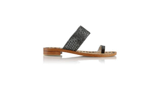Leather-shoes-Arini 20mm - Woven Grey Cracking-sandals flat-NILUH DJELANTIK-NILUH DJELANTIK