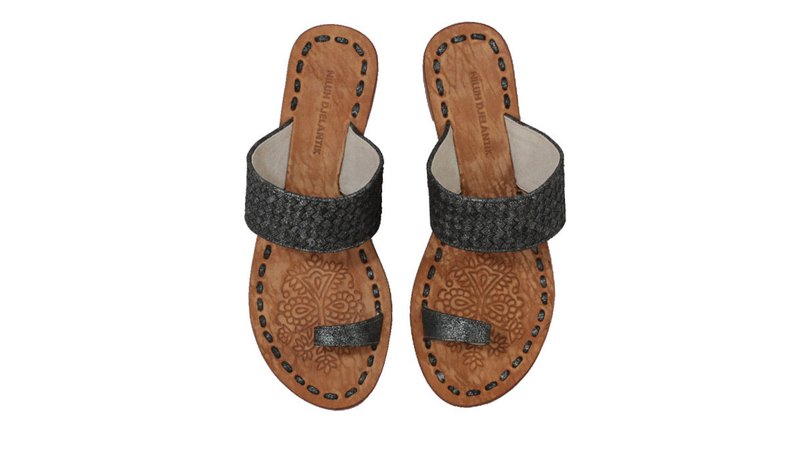 leather shoes Arini 20mm - Woven Grey Cracking, sandals flat , NILUH DJELANTIK - 1