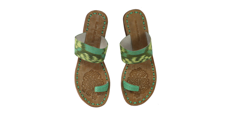 Leather-shoes-Arini 20mm Flat - Aqua & Aqua Handwoven Ikat-sandals flat-NILUH DJELANTIK-NILUH DJELANTIK