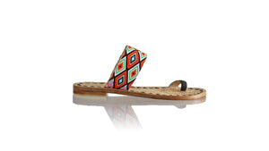 Leather-shoes-Arini 20mm Flat - Black & Orange Diamond Motif-sandals flat-NILUH DJELANTIK-NILUH DJELANTIK
