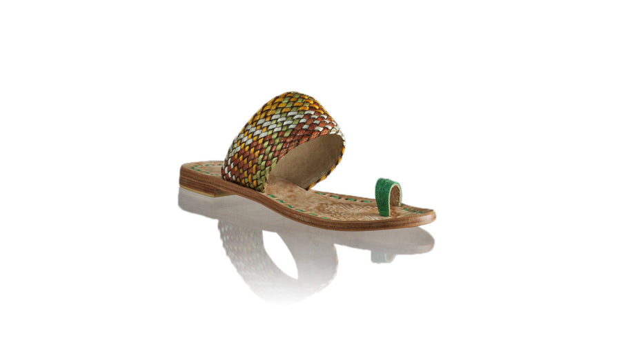 Leather-shoes-Arini 20mm Flat - Green Multicolor Ribbon-sandals flat-NILUH DJELANTIK-NILUH DJELANTIK