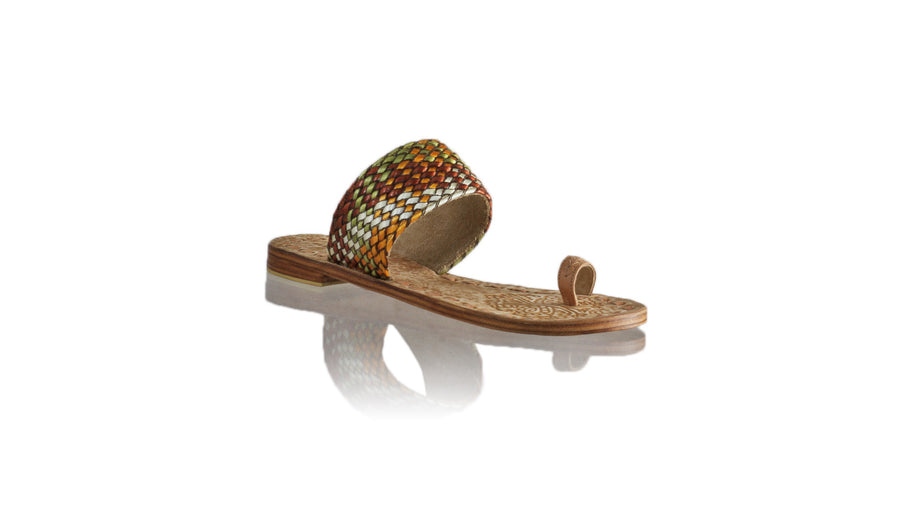 Leather-shoes-Arini 20mm Flat - Nude Multicolor Ribbon-sandals flat-NILUH DJELANTIK-NILUH DJELANTIK