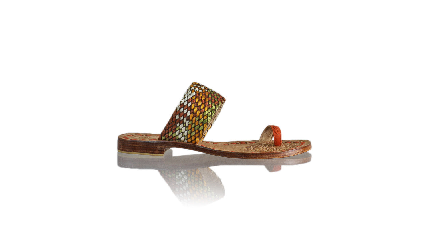 Leather-shoes-Arini 20mm Flat - Orange Multicolor Ribbon-sandals flat-NILUH DJELANTIK-NILUH DJELANTIK