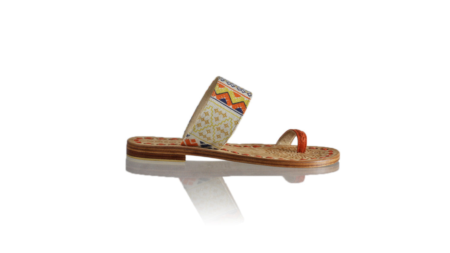 Leather-shoes-Arini 20mm Flat - Orange & Yellow and Orange Canvas-sandals flat-NILUH DJELANTIK-NILUH DJELANTIK