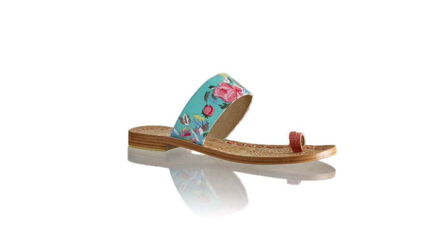 Leather-shoes-Arini 20mm Flat - Pink & Aqua Twill Cotton-sandals flat-NILUH DJELANTIK-NILUH DJELANTIK
