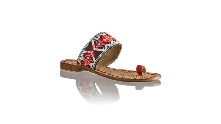 Leather-shoes-Arini 20mm Flat - Red & Red Star Ribbon-sandals flat-NILUH DJELANTIK-NILUH DJELANTIK