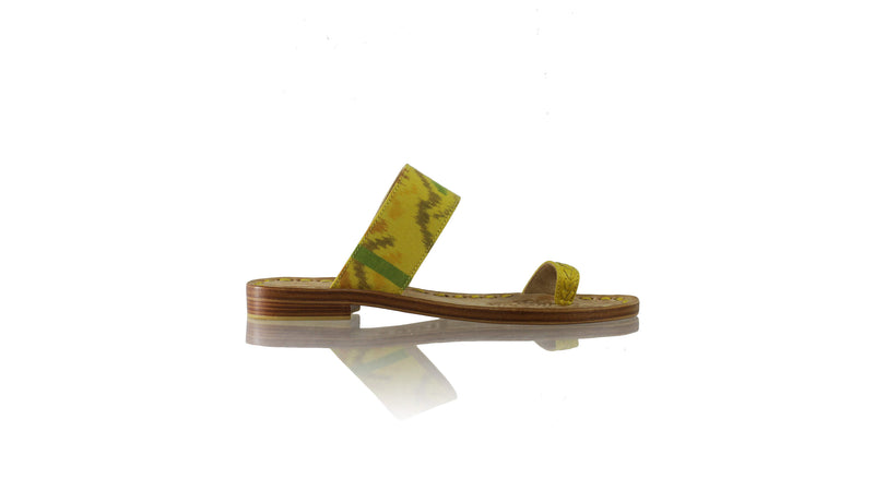 Leather-shoes-Arini 20mm Flat - Yellow & Yellow Handwoven Ikat-sandals flat-NILUH DJELANTIK-NILUH DJELANTIK