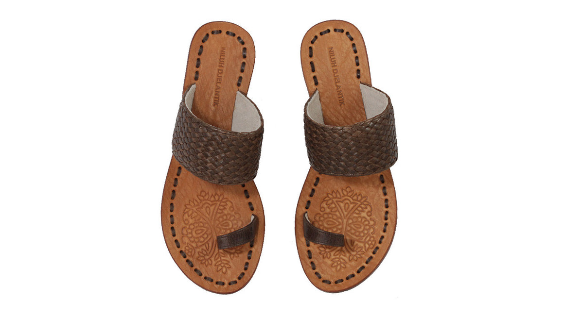 leather shoes Arini 20mm Flats - Brown Woven Ribbon, sandals flat , NILUH DJELANTIK - 1