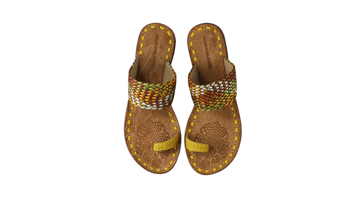 Leather-shoes-Arini 20mm - Yellow Multi Color Ribbon-sandals flat-NILUH DJELANTIK-NILUH DJELANTIK
