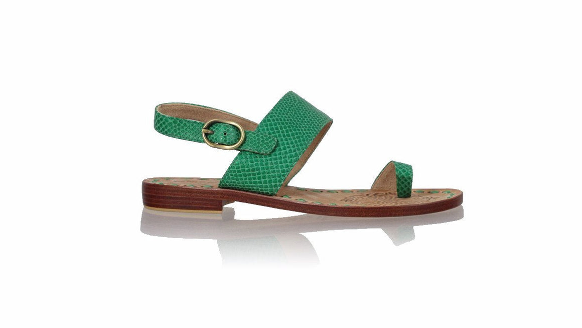 leather shoes Prana 20mm Flats - Green Snake Print, sandals flat , NILUH DJELANTIK - 1