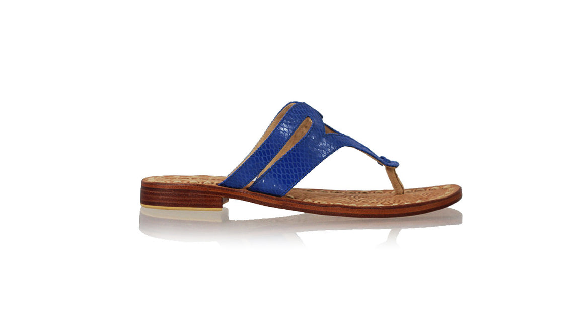 leather shoes Arrah 20 mm Flats Blue Snake Print, sandals flat , NILUH DJELANTIK - 1