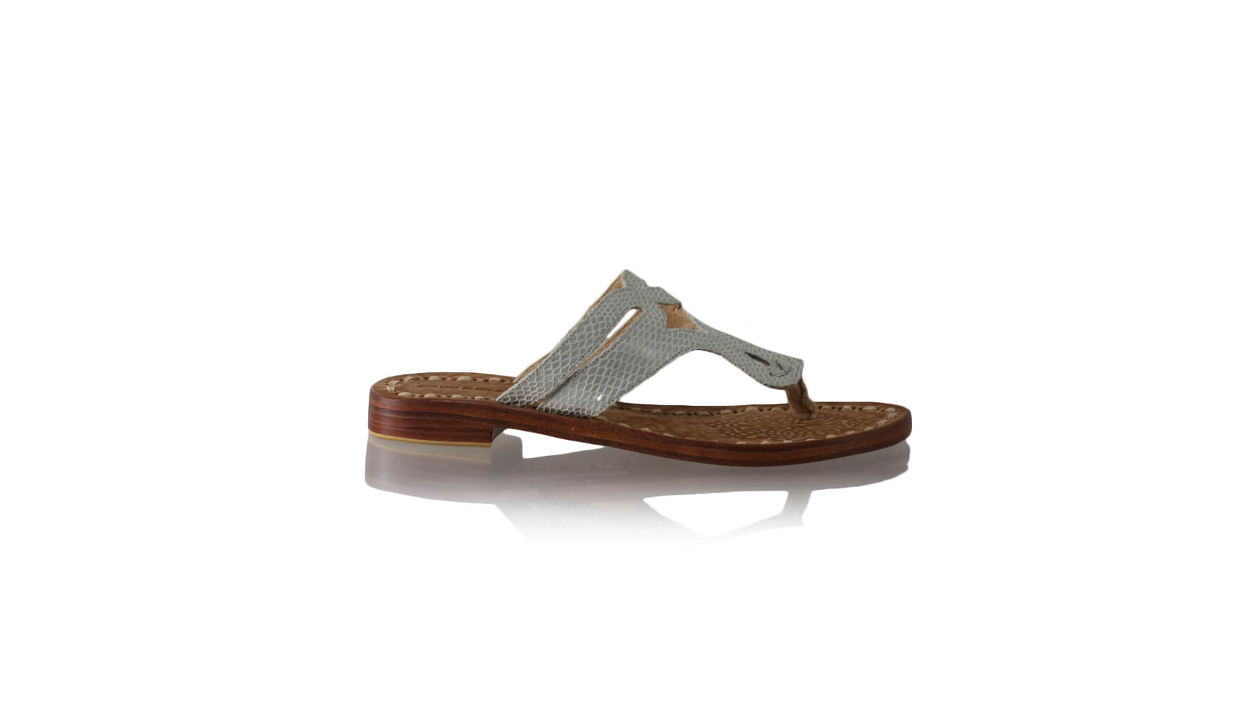 Leather-shoes-Arrah 20mm Flat - Grey Snake Print-sandals flat-NILUH DJELANTIK-NILUH DJELANTIK
