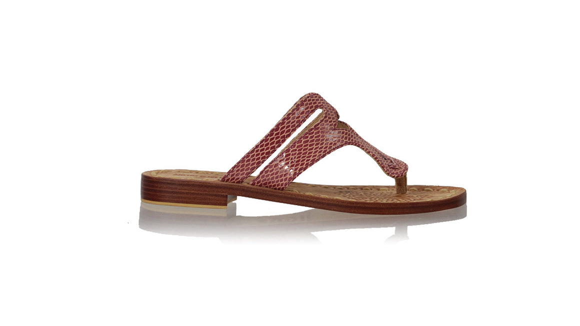 leather shoes Arrah 20mm Flats - Maroon Snake Print, sandals flat , NILUH DJELANTIK - 1