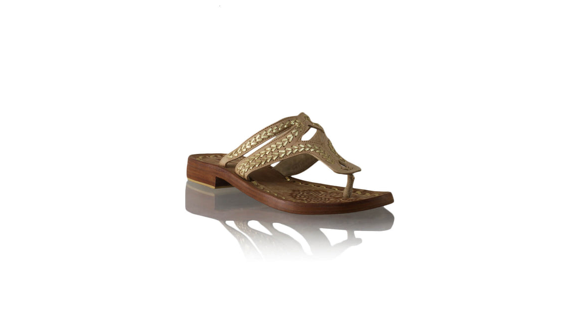 Leather-shoes-Arrah 20mm Flats - Nude & Gold-sandals flat-NILUH DJELANTIK-NILUH DJELANTIK