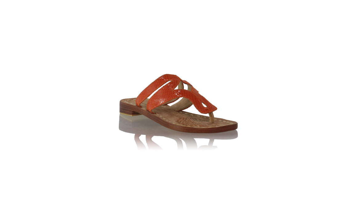 Leather-shoes-Arrah 20mm Flats Orange Snake Print-sandals flat-NILUH DJELANTIK-NILUH DJELANTIK